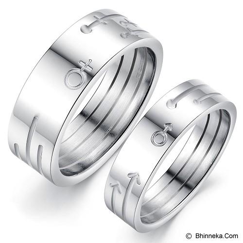 TITANIUM RING Cincin Couple Size 7(F) & 7(M) [GS297] - White - Cincin